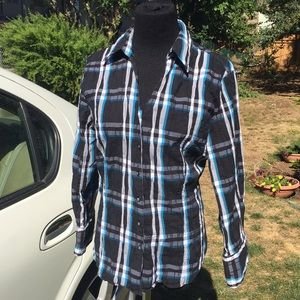 Fitted stretch plaid shirt